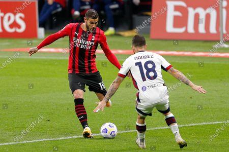 Theo Hernandez (AC Milan) in action against Nahitan Nandez (Cagliari Calcio)