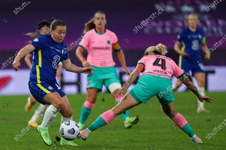 Fran Kirby (14 Chelsea) and Maria Leon (4 Barcelona) battle for the ball (duel) during the UEFA Womens Champions League FINAL 2021between Chelsea FC and FC Barcelona at Gamla Ullevi in Gothenburg, Sweden.