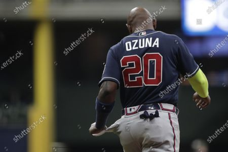 Atlanta Braves' Marcell Ozuna during the sixth inning of a baseball game against the Milwaukee Brewers, in Milwaukee