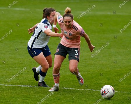 Natalie Johnson of Sheffield United Women takes on Esther Morgan of Tottenham Hotspur Women  during The Vitality Women's FA Cup Fifth Round Proper between Tottenham Hotspur and Sheffield United at The Hive Stadium , Barnet UK on 16th May 2021