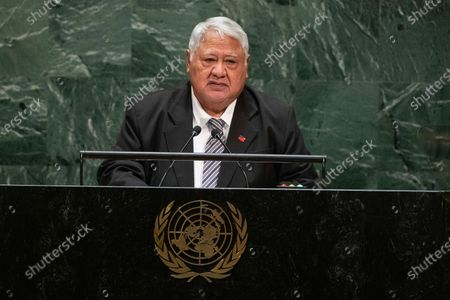Stock Image of Samoa's Prime Minister Tuilaepa Sailele Malielegaoi addresses the 74th session of the United Nations General Assembly at the U.N. headquarters in New York. Samoa appears set to get its first female leader after the nation's top court on reinstated the results of a knife-edge election from last month which appears to have ended what most people viewed as an attempt by Tuilaepa to cling to power