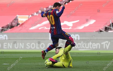Ivan Villar and Leo Messi during the match between FC Barcelona and Real Club Celta, corresponding to the week 37 of the Liga Santander, played at the Camp Nou Stadium on 16th May 2021, in Barcelona, Spain.  --