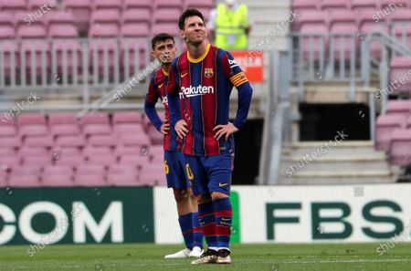 Leo Messi and Pedri during the match between FC Barcelona and Real Club Celta, corresponding to the week 37 of the Liga Santander, played at the Camp Nou Stadium on 16th May 2021, in Barcelona, Spain.  --