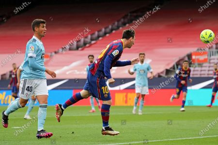 Leo Messi scores during the match between FC Barcelona and Real Club Celta, corresponding to the week 37 of the Liga Santander, played at the Camp Nou Stadium on 16th May 2021, in Barcelona, Spain.  --