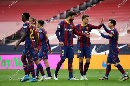 Leo Messi goal celebration during the match between FC Barcelona and Real Club Celta, corresponding to the week 37 of the Liga Santander, played at the Camp Nou Stadium on 16th May 2021, in Barcelona, Spain.  --