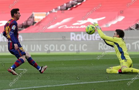 Leo Messi and Ivan Villar during the match between FC Barcelona and Real Club Celta, corresponding to the week 37 of the Liga Santander, played at the Camp Nou Stadium on 16th May 2021, in Barcelona, Spain.  --