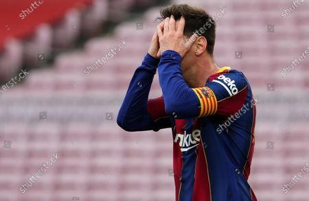 Stock Image of Leo Messi during the match between FC Barcelona and Real Club Celta, corresponding to the week 37 of the Liga Santander, played at the Camp Nou Stadium on 16th May 2021, in Barcelona, Spain.  --