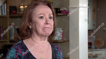 Stock Picture of Coronation Street - Ep 10335 Wednesday 26th May 2021 - 1st Ep When Cathy Matthews, as played by Melanie Hill, finds Elaine Jones and Brian Packham searching her room Cathy is forced into admitting to Brian that her hoarding is out of control again and she's ashamed.