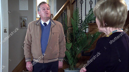Coronation Street - Ep 10335 Wednesday 26th May 2021 - 1st Ep When Cathy Matthews finds Elaine Jones, as played by Paula Wilcox, and Brian Packham, as played by Peter Gunn, searching her room Cathy is forced into admitting to Brian that her hoarding is out of control again and she's ashamed.