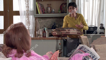 Coronation Street - Ep 10331 & Ep 10332 Friday 21st May 2021 At No.6, Yasmeen Metcalfe, as played by Shelley King, and Elaine Jones survey a pile of empty pizza boxes with revulsion. Elaine reckons it's time Cathy Matthews, as played by Melanie Hill, started pulling her weight.