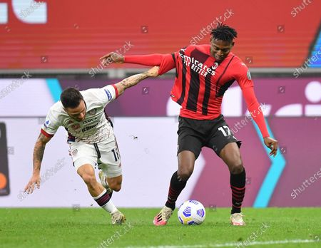 (210517) - MILAN, May 17, 2021 (Xinhua) - AC Milan's Rafeal Leao (R) lives with Cagliari's Nahitan Nandez during a Serie A soccer match between AC Milan and Cagliari in Milan, Italy, May 16, 2021.