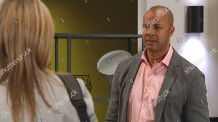 Stock Photo of Emmerdale - Ep 9057 Wednesday 26th May 2021 Kim Tate, as played by Claire King, encounters a mutinous Al Grant, as played by Michael Wildman, and Jai Sharma at the HOP.