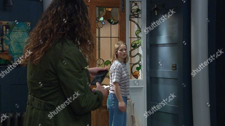 Emmerdale - Ep 9050 Tuesday 18th May 2021 Liv Flaherty, as played by Isobel Steele, is shocked when Chas Dingle, as played by Lucy Pargeter, arrives, locks the door and grabs her phone. She's put her under house arrest until she sobers herself up.