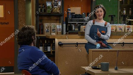 Emmerdale - Ep 9049 Monday 17th May 2021 Victoria Sugden, as played by Isabel Hodgins, talks to Ben Tucker, as played by Simon Lennon, and learns he's not as over Aaron as he claims to be.