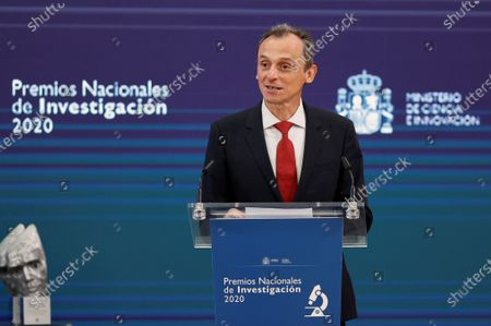 Spanish Science and Innovation Minister Pedro Duque delivers a speech during the opening of the 2020 Spanish Research Prizes awarding ceremony, at El Pardo Palace, in Madrid, Spain, 17 May 2021.