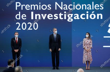 Spain's King Felipe VI (C), Queen Letizia (R) and Spanish Science and Innovation Minister's Pedro Duque attend 2020 Spanish Research Prizes awarding ceremony, at El Pardo Palace, in Madrid, Spain, 17 May 2021.