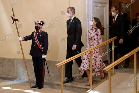 Spain's King Felipe VI (2-L) and Queen Letizia (2-R) and Spanish Science and Innovation Minister, Pedro Duque (R), arrive at the opening of 2020 Spanish Research Prizes awarding ceremony, at El Pardo Palace, in Madrid, Spain, 17 May 2021.