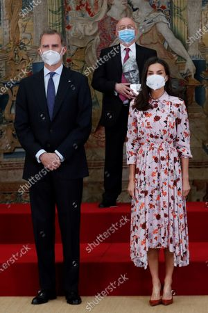 Spain's King Felipe VI (L) and Queen Letizia (R) pose for a photo with the winners during 2020 Spanish Research Prizes awarding ceremony, at El Pardo Palace, in Madrid, Spain, 17 May 2021.