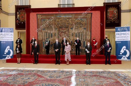 Spain's King Felipe VI (C-L) and Queen Letizia (C-R) and Spanish Science and Innovation Minister, Pedro Duque (2-L, front), pose for a photo with the winners during 2020 Spanish Research Prizes awarding ceremony, at El Pardo Palace, in Madrid, Spain, 17 May 2021.