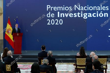 Spain's King Felipe VI (L), delivers a speech at the opening of 2020 Spanish Research Prizes awarding ceremony, at El Pardo Palace, in Madrid, Spain, 17 May 2021.