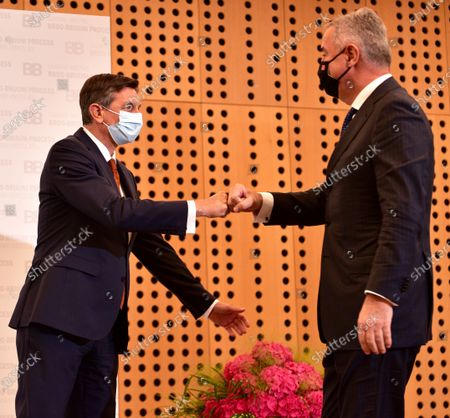 Slovenian President Borut Pahor (L) welcomes Montenegrin President Milo Djukanovic (R) during Brdo-Brijuni Process summit in Brdo pri Kranju, Slovenia, 17 May 2021. The Brdo-Brijuni Process was initiated at the presidential level in 2013 while prime-ministerial meetings began in 2011 to focus on the enlargement of the European Union with countries of the Western Balkans. The summit groups leaders from Croatia, Albania, Montenegro, Kosovo, North Macedonia and Serbia and the Bosnia-Herzegovina.