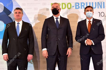 Slovenian President Borut Pahor (R) and Croatian President Zoran Milanovic (L) welcomes Montenegrin President Milo Djukanovic (C) during Brdo-Brijuni Process summit in Brdo pri Kranju, Slovenia, 17 May 2021. The Brdo-Brijuni Process was initiated at the presidential level in 2013 while prime-ministerial meetings began in 2011 to focus on the enlargement of the European Union with countries of the Western Balkans. The summit groups leaders from Croatia, Albania, Montenegro, Kosovo, North Macedonia, Serbia and the Bosnia-Herzegovina.
