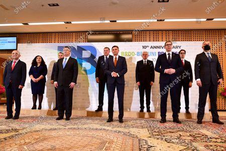 (L-R) Albanian President Ilir Meta, President of the Republic of Kosovo Vjosa Osmani-Sadriu, Members of the Bosnian Presidency Zeljko Komsic, Croatian President Zoran Milanovic, Members of the Bosnian Presidency Milorad Dodik, Slovenian President Borut Pahor, Members of the Bosnian Presidency Sefik Dzaferovic, Serbian President Aleksandar Vucic , President of North Macedonia Stevo Pendarovski  and Montenegrin President Milo Djukanovic during Brdo-Brijuni Process summit in Brdo pri Kranju, Slovenia, 17 May 2021. The Brdo-Brijuni Process was initiated at the presidential level in 2013 while prime-ministerial meetings began in 2011 to focus on the enlargement of the European Union with countries of the Western Balkans. The summit groups leaders from Croatia, Albania, Montenegro, Kosovo, North Macedonia, Serbia and the Bosnia-Herzegovina.