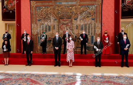 King Felipe VI of Spain, Queen Letizia of Spain attend delivery of the 2020 National Research Awards at El Pardo Royal Palace