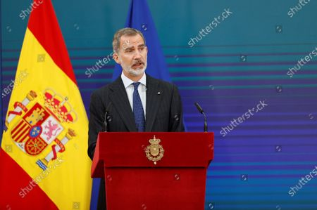 Stock Image of King Felipe VI of Spain, Queen Letizia of Spain attend delivery of the 2020 National Research Awards at El Pardo Royal Palace