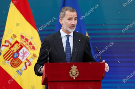 Stock Picture of King Felipe VI of Spain, Queen Letizia of Spain attend delivery of the 2020 National Research Awards at El Pardo Royal Palace