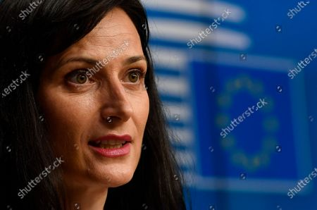 European Commissioner for Innovation, Research, Culture, Education and Youth Mariya Gabriel gives a press conference following a EU Education ministers meeting at the EU headquarters in Brussels, Belgium, 17 May 2021.