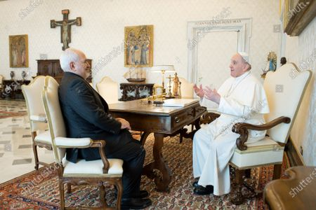 Stock Photo of Pope Francis meets Mohammad Javad Zarif, Minister of Foreign Affairs of the Islamic Republic of Iran in the Vatican
