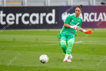 Manuela Zinsberger (1 Arsenal) during the Vitality Womens FA Cup 5th round match between Arsenal and Crystal Palace at Meadow Park, Borehamwood, England.