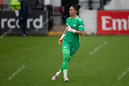 Stock Photo of Manuela Zinsberger (1 Arsenal) during the Vitality Womens FA Cup 5th round match between Arsenal and Crystal Palace at Meadow Park, Borehamwood, England.