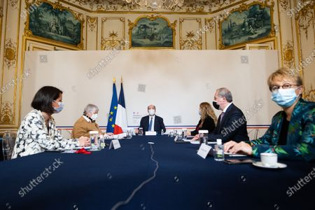 French Minister for Territorial Cohesion and Relations with Local Government Jacqueline Gourault, French Minister for Urban Affairs, attached to the Minister for Territorial Cohesion and Relations with Local Government Nadia Hai, Mayor of Toulouse Jean-Luc Moudenc, Mayor of Nantes Johanna Rolland and Nathalie Appere meets with French prime minister and presidents of France Urbaine metropole before signing an agreement with France Urbaine in Paris