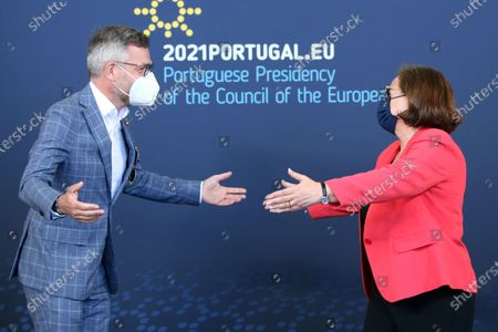 Portuguese Secretary of State for European Affairs Ana Paula Zacarias (R) welcomes Germany Minister of State for Europe Michael Roth (L) before attending an Informal Meeting of the Ministers of European Affairs under the Portuguese Presidency of the Council, in Coimbra, Portugal, 17 May 2021. The program begins with a presentation and discussions on the ultraperipheral regions of the EU as laboratories for the future and the Ministers will learn not only about the challenges and potential of these regions for Europe as a whole but also about the lessons that can be learnt so that can prepare the future of the EU in areas such as sustainability, the digital transition and youth.
