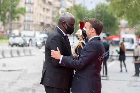 France's President Emmanuel Macron (R) welcomes African Union (AU) Commission Chairman Moussa Faki French President Emmanuel Macron is waiting for an International Conference on the Sudan at the Grand Palais Ephemere. Paris, FRANCE-17/05/2021