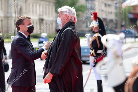 Emmanuel Macron and Chris Dercon. French President Emmanuel Macron is waiting for an International Conference on the Sudan at the Grand Palais Ephemere. Paris, FRANCE-17/05/2021