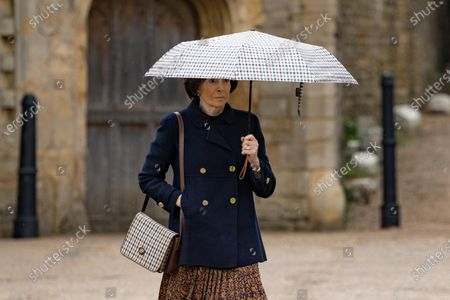 HMRC Drive Dame Lady Mary Archer out of court to collect her car before apperaing in court.Dame Lady Mary Archer arriving at Peterborough Knights Hall, a Temporary nightingale court in the grounds of Peterborough Cathedral in the case of Lady Lavinia Nourse