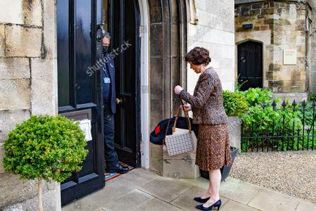 Dame Lady Mary Archer arriving at Peterborough Knights Hall, a Temporary nightingale court in the grounds of Peterborough Cathedral in the case of Lady Lavinia Nourse