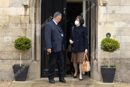 Dame Lady Mary Archer leaving Peterborough Knights Hall, a Temporary nightingale court in the grounds of Peterborough Cathedral in the case of Lady Lavinia Nourse