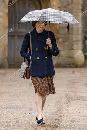 Stock Photo of HMRC Drive Dame Lady Mary Archer out of court to collect her car before apperaing in court.Dame Lady Mary Archer arriving at Peterborough Knights Hall, a Temporary nightingale court in the grounds of Peterborough Cathedral in the case of Lady Lavinia Nourse