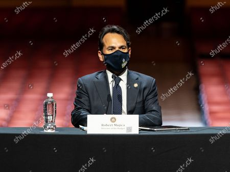 Robert Mujica attends Governor Andrew Cuomo announcement that the state adopts new CDC guidance and regulations at Radio City Music Hall. Effective May 19 New York State as well as Connecticut and New Jersey will adopt new CDC rules on masks and social distancing for vaccinated people. Governor also announced that the closing night of Tribeca Film Festival will be held at Radio City Music Hall with full capacity only for vaccinated people. Governor announced new rules for entertainment and sporting events, gatherings indoors and outdoors and urged people to get vaccinated. Governor stated that it is up to private companies to set additional restrictions as they like. CEO of MSG Entertainment James Dolan added that people who are vaccinated will get priority for attending events at the Garden. Joining Governor on these announcement were Executive Chairman and CEO Madison Square Garden Entertainment James Dolan, Interim CEO New York Road Runners Kerin Hempel, Co-Founder Tribeca Productions Jane Rosenthal, Director of the Budget Robert Mujica, Health Commissioner Howard Zucker