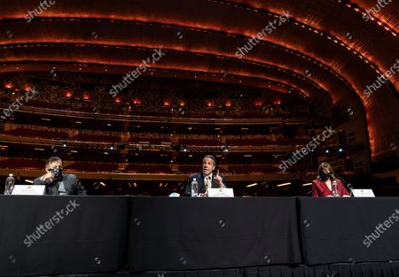 Governor Andrew Cuomo announced that the state adopts new CDC guidance and regulations at Radio City Music Hall. To his right is James Dolan and on the left Jane Rosenthal. Effective May 19 New York State as well as Connecticut and New Jersey will adopt new CDC rules on masks and social distancing for vaccinated people. Governor also announced that the closing night of Tribeca Film Festival will be held at Radio City Music Hall with full capacity only for vaccinated people. Governor announced new rules for entertainment and sporting events, gatherings indoors and outdoors and urged people to get vaccinated. Governor stated that it is up to private companies to set additional restrictions as they like. CEO of MSG Entertainment James Dolan added that people who are vaccinated will get priority for attending events at the Garden. Joining Governor on these announcement were Executive Chairman and CEO Madison Square Garden Entertainment James Dolan, Interim CEO New York Road Runners Kerin Hempel, Co-Founder Tribeca Productions Jane Rosenthal, Director of the Budget Robert Mujica, Health Commissioner Howard Zucker