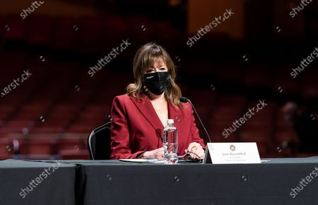 Jane Rosenthal attends Governor Andrew Cuomo announcement that the state adopts new CDC guidance and regulations at Radio City Music Hall. Effective May 19 New York State as well as Connecticut and New Jersey will adopt new CDC rules on masks and social distancing for vaccinated people. Governor also announced that the closing night of Tribeca Film Festival will be held at Radio City Music Hall with full capacity only for vaccinated people. Governor announced new rules for entertainment and sporting events, gatherings indoors and outdoors and urged people to get vaccinated. Governor stated that it is up to private companies to set additional restrictions as they like. CEO of MSG Entertainment James Dolan added that people who are vaccinated will get priority for attending events at the Garden. Joining Governor on these announcement were Executive Chairman and CEO Madison Square Garden Entertainment James Dolan, Interim CEO New York Road Runners Kerin Hempel, Co-Founder Tribeca Productions Jane Rosenthal, Director of the Budget Robert Mujica, Health Commissioner Howard Zucker
