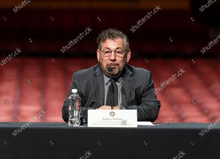 James Dolan speaks during Governor Andrew Cuomo announcement that the state adopts new CDC guidance and regulations at Radio City Music Hall. Effective May 19 New York State as well as Connecticut and New Jersey will adopt new CDC rules on masks and social distancing for vaccinated people. Governor also announced that the closing night of Tribeca Film Festival will be held at Radio City Music Hall with full capacity only for vaccinated people. Governor announced new rules for entertainment and sporting events, gatherings indoors and outdoors and urged people to get vaccinated. Governor stated that it is up to private companies to set additional restrictions as they like. CEO of MSG Entertainment James Dolan added that people who are vaccinated will get priority for attending events at the Garden. Joining Governor on these announcement were Executive Chairman and CEO Madison Square Garden Entertainment James Dolan, Interim CEO New York Road Runners Kerin Hempel, Co-Founder Tribeca Productions Jane Rosenthal, Director of the Budget Robert Mujica, Health Commissioner Howard Zucker
