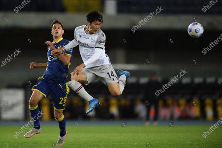 "Takehiro Tomiyasu (Bologna)Nikola Kalinic (Hellas Verona)         during the Italian ""Serie A"" match between Hellas Verona 2-2 Bologna  at  Marc Antonio Bentegodi Stadium in Verona, Italy."