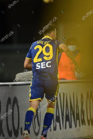 "Nikola Kalinic (Hellas Verona)    celebrates after scoring his team's second goal      during the Italian ""Serie A"" match between Hellas Verona 2-2 Bologna  at  Marc Antonio Bentegodi Stadium in Verona, Italy."