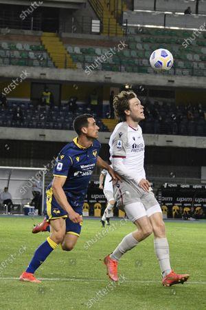 "Nikola Kalinic (Hellas Verona)Andreas Skov Olsen (Bologna)               during the Italian ""Serie A"" match between Hellas Verona 2-2 Bologna  at  Marc Antonio Bentegodi Stadium in Verona, Italy."