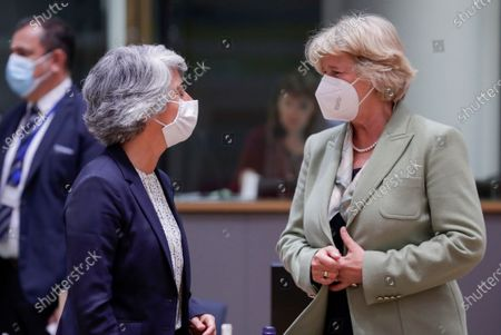 German Culture Minister Monika Gruetters (R) and Portuguese Culture Minister Graca Fonseca at the start of a European Culture  ministers council in Brussels, Belgium, 18 May 2021.